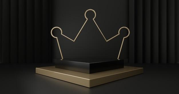 3d rendono dei punti del piedistallo dell'oro isolati sul nero