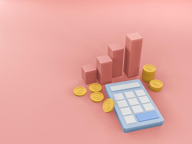 3d rendono del calcolatore blu e della moneta dorata e del grafico ascendente sul pavimento rosa