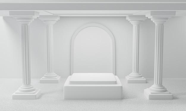 3d rendono del piedistallo bianco del podio dell'esposizione della colonna e del romano classico