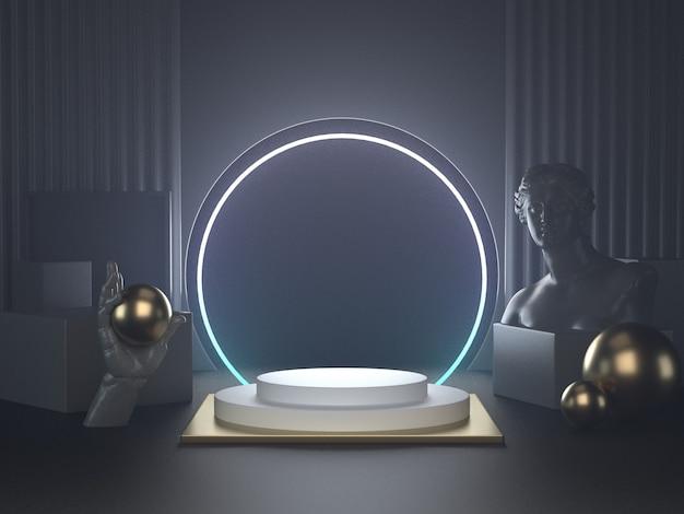 3d rendono del podio bianco sulle luci futuristiche e sulla scultura classica