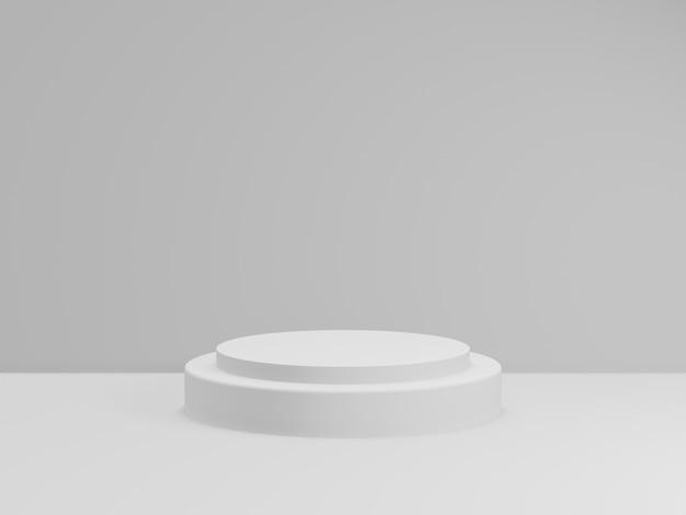 3d rendono del podio bianco totale per il prodotto. fase di simulazione.