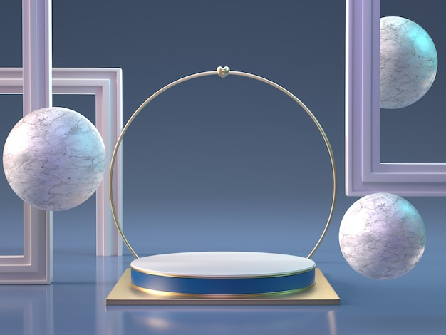 3d rendono del podio con le sfere e le strutture