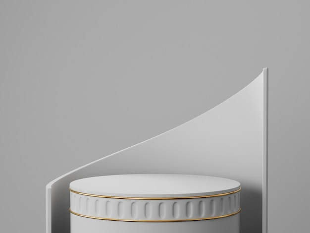 3d rendono del podio del piedistallo dell'oro e di bianco sul concetto minimo astratto chiaramente della parete, cosmetico minimo minimo di lusso del presente del prodotto di progettazione pulita 3d dello spazio.