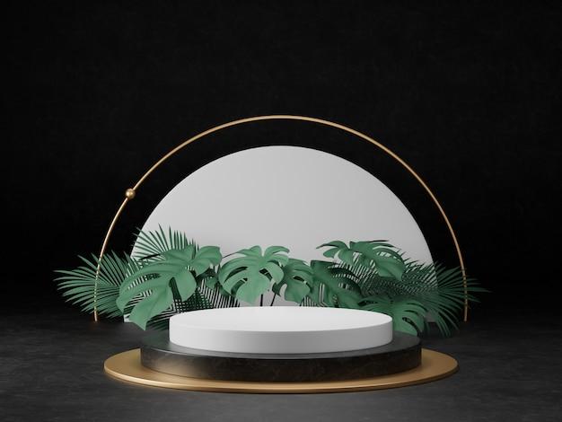 3d rendono del podio di marmo in bianco e nero del piedistallo sul concetto minimo astratto commemorativo della struttura dell'oro della parete decori con la pianta, presente pulito minimo di lusso del prodotto 3d di progettazione pulita dello spazio.