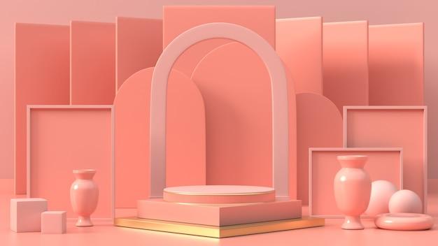 3d rendono del podio geometrico rosa per il prodotto o 3d commerciale del podio astratto