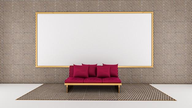 3d rendono del salone e della lavagna sulla parete delle mattonelle, salone
