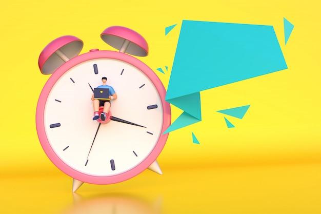 3d rendono dell'uomo che lavora in tempo con il messaggio vuoto.