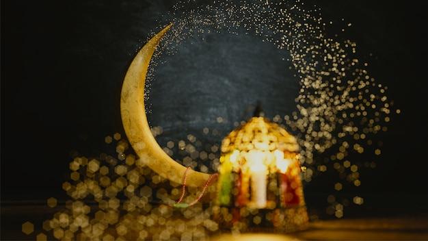 3d rendono della luna crescente con effetto del bokeh