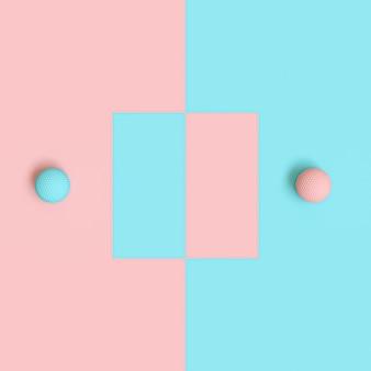 3d rendono delle palle da golf blu e rosa su fondo alternante
