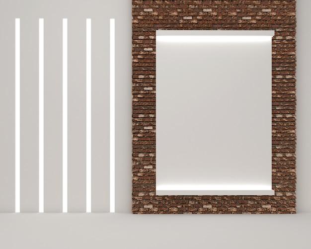 3d rendono dello spazio in bianco della cornice sul vecchio muro di mattoni