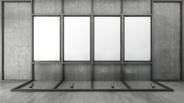 3d rendono dello spazio in bianco della cornice sulla rete metallica