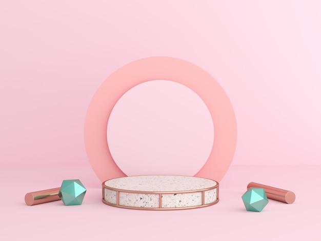 3d rendono deridere sul colore pastello di scena. podio forma geometrica parete per prodotto.
