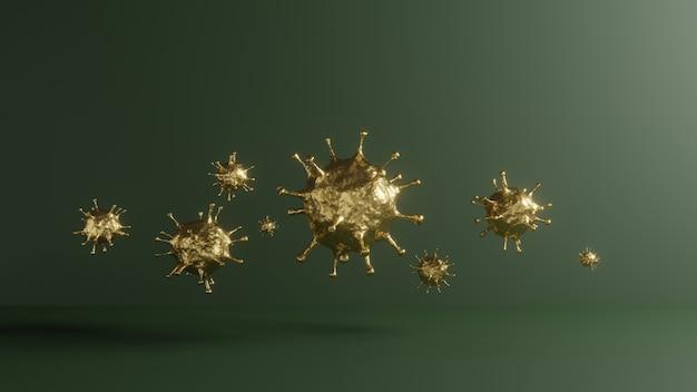 3d rendono di covid-19 dorato. concettuale del virus dell'epidemia di pandemia per la ricerca sui vaccini per la salute medica. ingrandimento microscopico del virus della corona verde, 2019-ncov