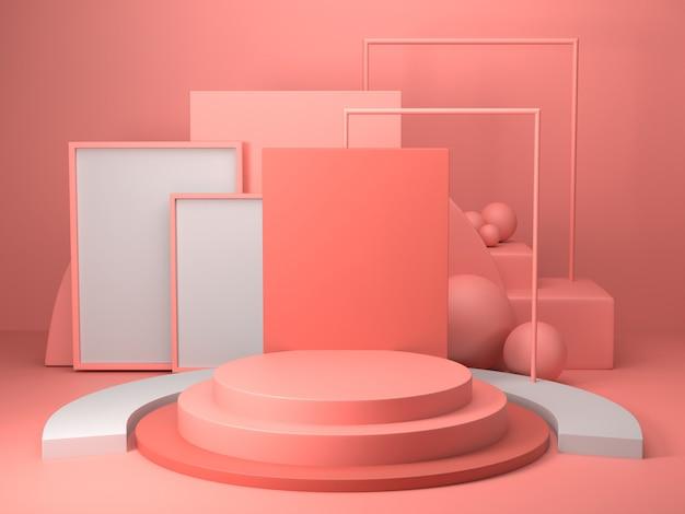 3d rendono di forma geometrica astratta di colore rosa, modello minimalista moderno per l'esposizione o la vetrina del podio