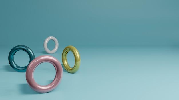 3d rendono di stile minimo dell'anello variopinto e della palla su fondo pastello concetto isolato astratto del fondo.