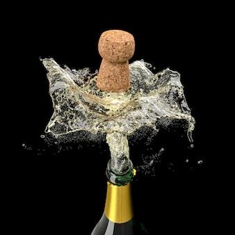 3d rendono di una bottiglia di champagne