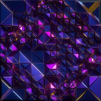 3d rendono, fondo astratto sfaccettato, struttura metallica blu iridescente, mattonelle del triangolo, carta da parati cristallizzata geometrica