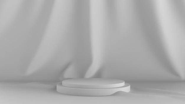 3d rendono il fondo bianco astratto. con uno spettacolo teatrale e un panno sul retro.