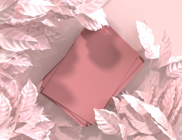 3d rendono il fondo geometrico astratto delle foglie di colore rosa, modello minimalista per l'esposizione del podio