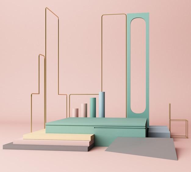 3d rendono il fondo geometrico astratto di forme primitive minimo