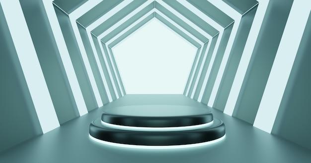 3d rendono il podio in tunnel futuristico di esagono usando per il prodotto della vetrina