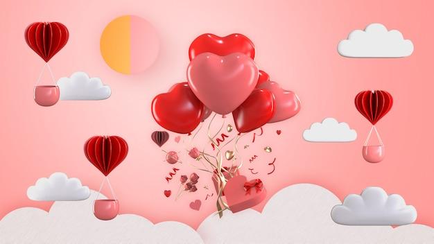 3d rendono l'aerostato che galleggia con gli ornamenti del contenitore di regalo del biglietto di s. valentino