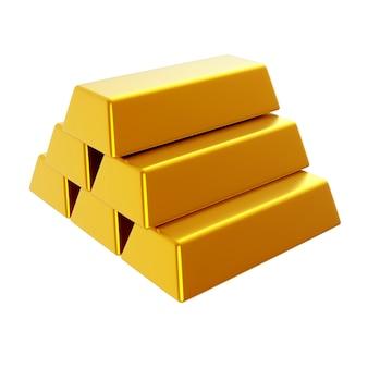 3d rendono l'illustrazione delle barre di oro