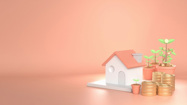 3d rendono l'immagine della casa che cresce sul bello fondo rosa decori con i soldi della moneta dell'albero dell'albero.