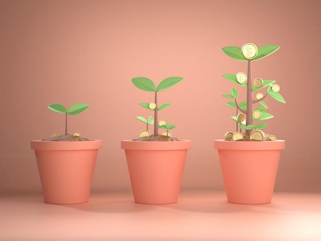 3d rendono l'immagine della moneta della pianta dell'albero di soldi concetto di crescita di soldi per la banca o contare