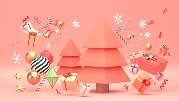 3d rendono l'immagine della progettazione dell'albero di natale per la festa di natale decorano dalla forma geometrica dell'ornamento e dal giftbox.