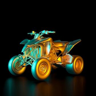 3d rendono l'immagine di una bici del quadrato colorata oro