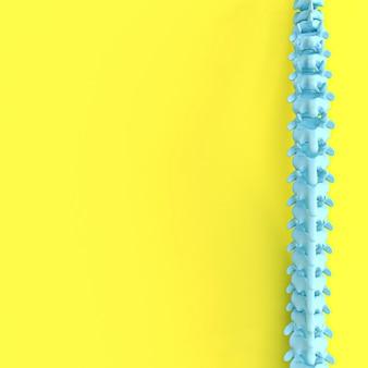 3d rendono l'immagine di una spina dorsale su una priorità bassa gialla.