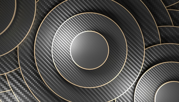 3d rendono l'immagine di uno sfondo geometrico circolare con fibra di carbonio