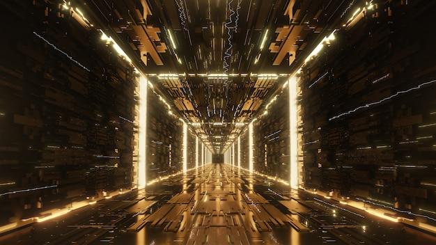 3d rendono l'oro tunnel al neon futuristico digitale