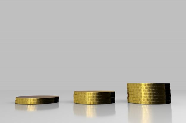 3d rendono la pila della moneta di oro.