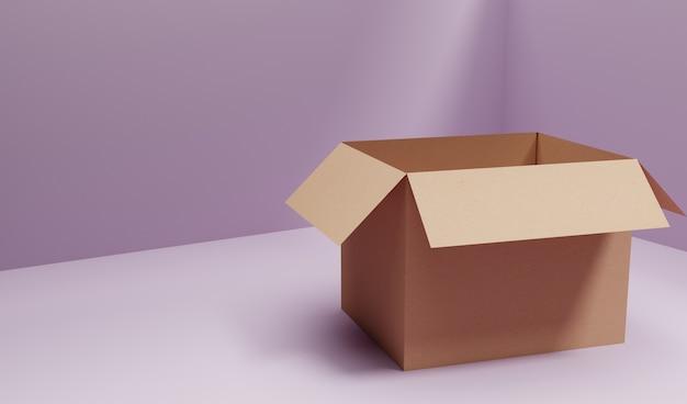 3d rendono la scatola di cartone generale di trasporto nella stanza viola