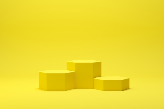3d rendono la scena astratta del podio di forma della geometria con fondo giallo per esposizione e prodotto