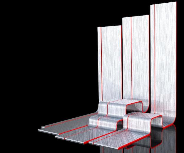 3d rendono la scena dello studio del metallo