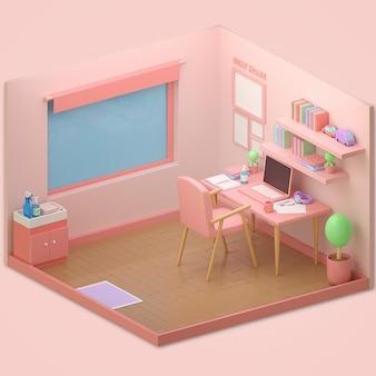 3d rendono la stanza rosa vuota