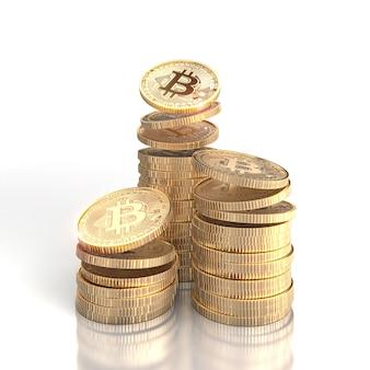 3d rendono le pile di monete di oro del bitcoin su un bianco.