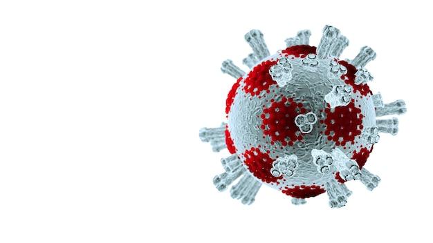 3d rendono, malattia del virus della corona covid-19 nell'ambito dell'illustrazione medica del microscopio isolata su fondo bianco, concetto medico pandemico di rischio per la salute con la cellula della malattia come 3d rendono.