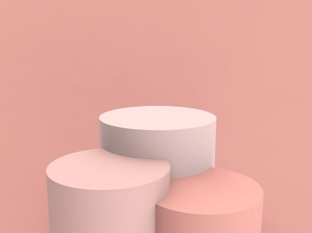 3d reso - fondo del banco di mostra del prodotto del podio del cilindro di rosa della pesca