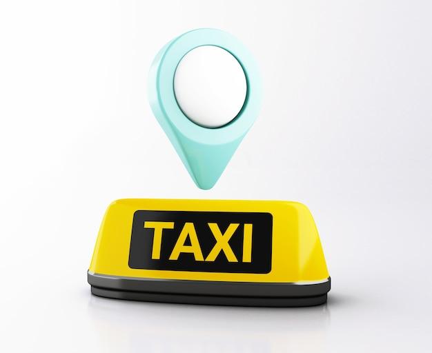 3d segno di taxi giallo e puntatore della mappa. domanda di taxi online.