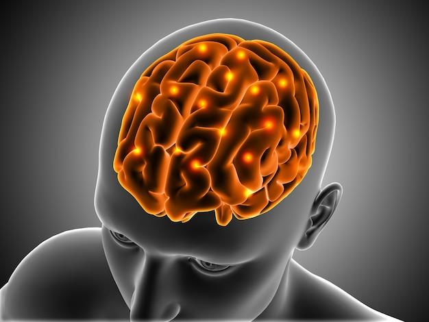 3d sfondo medico con figura maschile con cervello evidenziato
