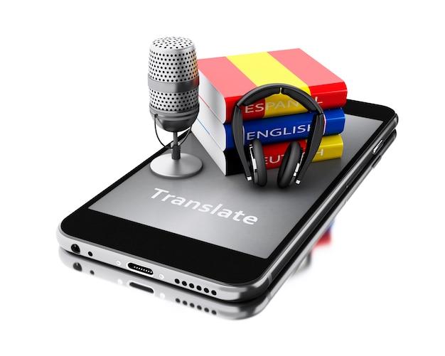 3d smartphone con la parola tradurre e libri di lingua.