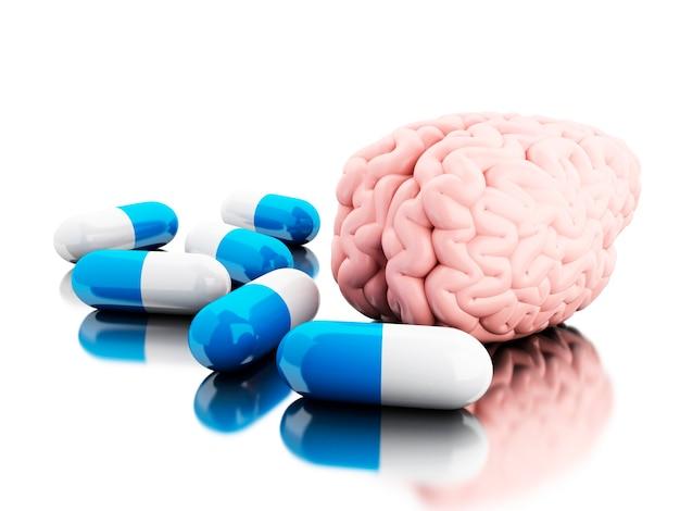 3d un cervello con alcune pillole.