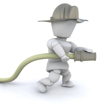 3d uomo vigile del fuoco con il casco e il tubo flessibile isolato