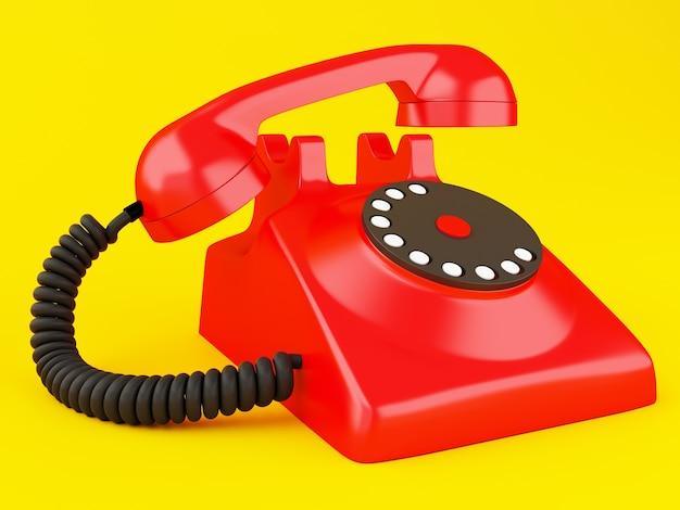 3d vecchio telefono rosso