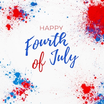 4 luglio sfondo con scritte e fuochi d'artificio realizzati con macchie di colore holi
