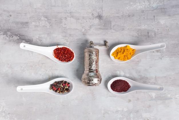 4 tipi di spezie di diversa macinatura in cucchiai con smerigliatrice su pietra, piatto disteso